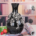 Round with small mouth ceramic electroplated vase wholesale/Plating silver vase with twist shape