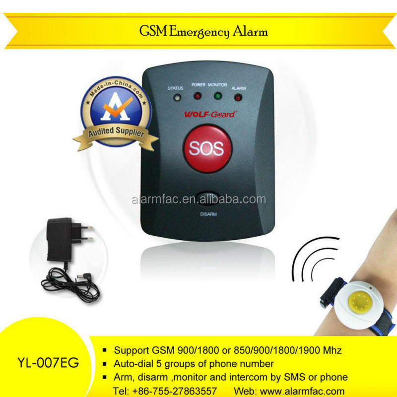 Portable bracelet panic button with GSM personal emergency alarm