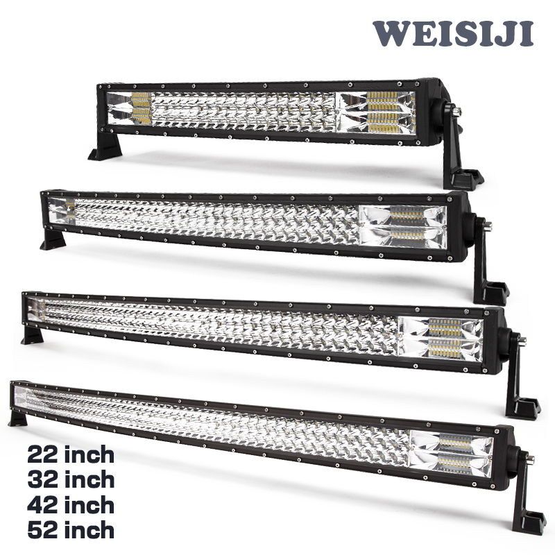 "New design 22"" 32"" 42"" 50"" 52"" LED Combo Light bar,off road 4x4 SUV ATV UTV 3 row curved led light bar"