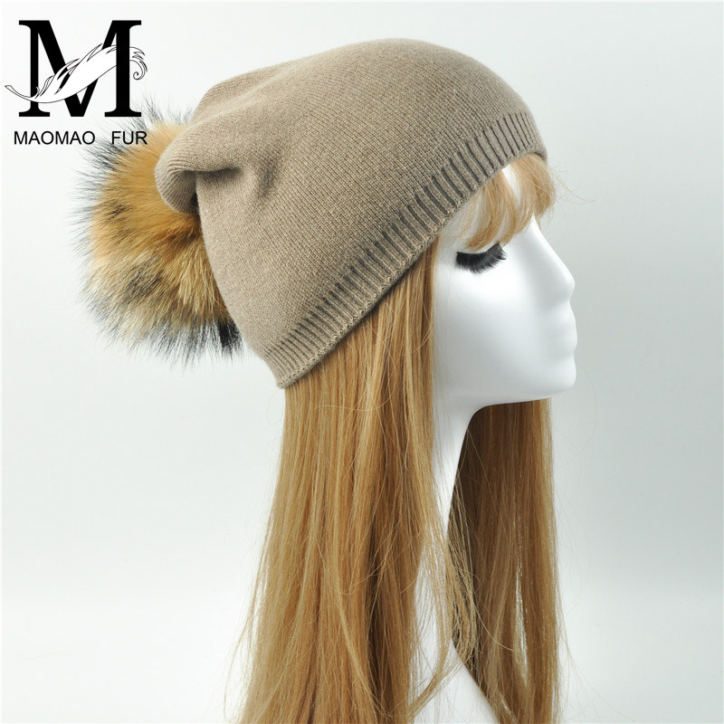 Women Girl Raccoon Fur Pom Pom <strong>Hats</strong> Ladies Knit <strong>Hat</strong> Cashmere <strong>Beanie</strong>