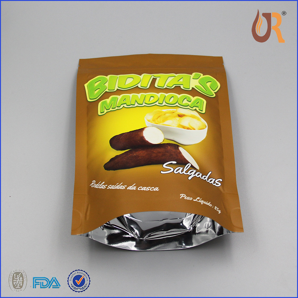 Top zip lock Resealable laminated aluminum foil bag for snack/potato chips packaging bags