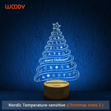Woody USB Modern LED Wooden Base Table Lamp 3D Christmas Tree Gift Lamp