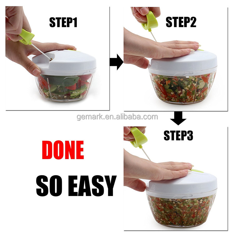 BPA free manual kitchen hand held food chopper pull string vegetable chopper