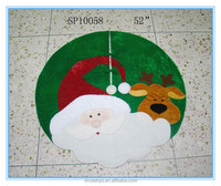 Tree skirt fabric christmas decoration with christmas santa claus and snowman