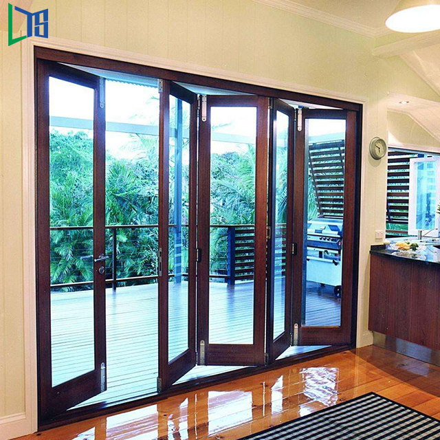 Aluminium 6063-T5 cheap interior bi-fold internal blinds glass doors patio door