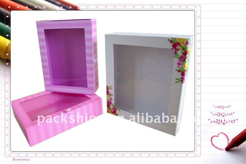 Paper Photo Frame Box with Plastic Window