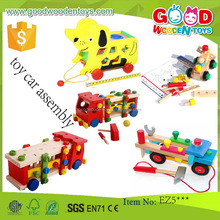 EN71 Top Sale Educational Toys Wooden Vehicle Car assembly Building Bricks Brain Games for Kids