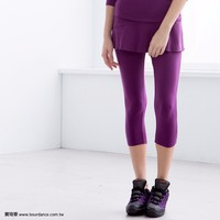 Supplex fitness capri pants with ruffle skirt