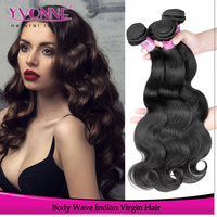 Hot wholesale virgin indian hair body wave cheap human hair weft