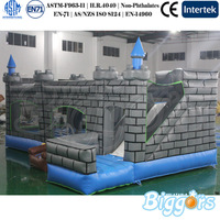 Blue Winter Snow Theme Inflatable Jumping Castle With Slide