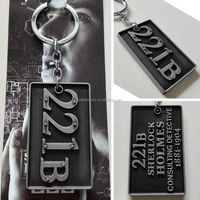 UK TV Series Sherlock Holmes 221B Logo Silver 7cm Metal Keychain Black/Golden Letter embossed Keyring - NEW Arrival