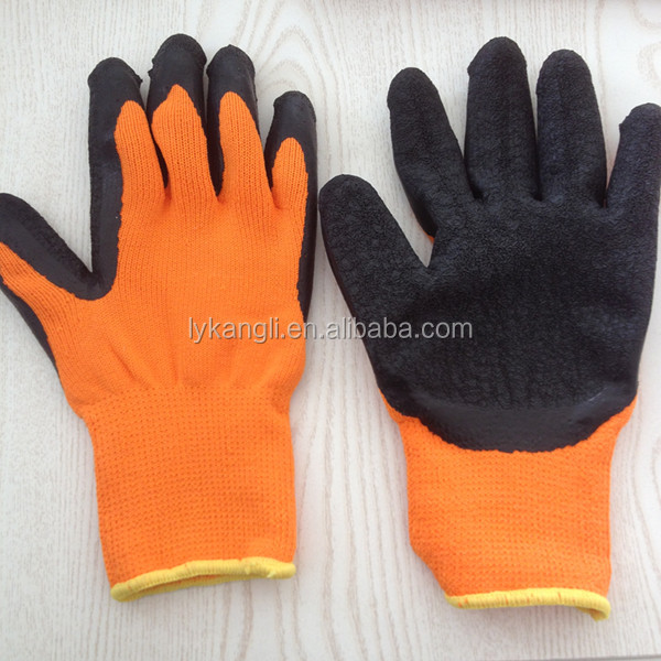 cotton knitted gloves latex working gloves red latex coated work gloves