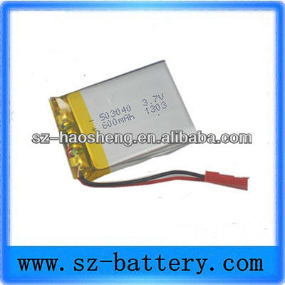 Smal size light weight best quality 3.7v 503040 lithium rechargeable lipo battery for camera