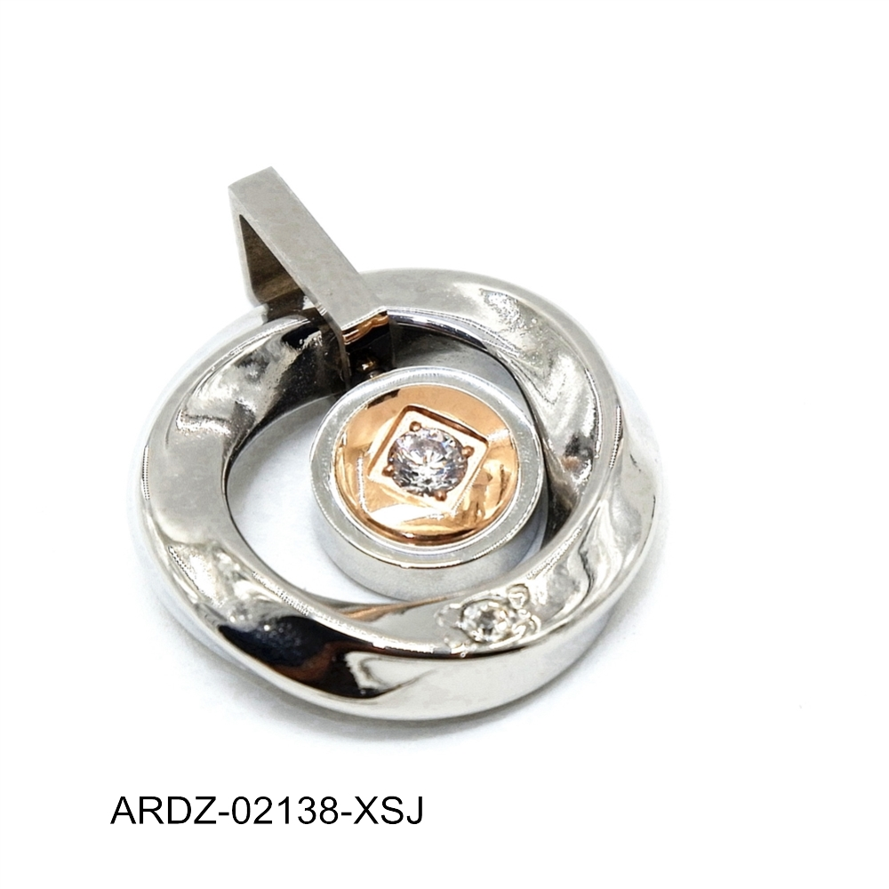 2017 new style hot selling design stainless steel round CZ stone pendant