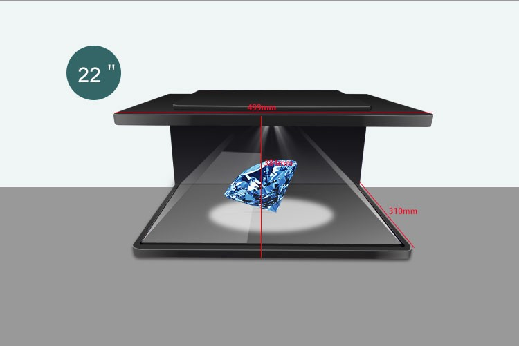 270 degree showcase holographic 3d pyramid hologram