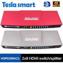 High Speed 3D 1080P 4K HDMI Switch Splitter 2x8 with IR Remote Control
