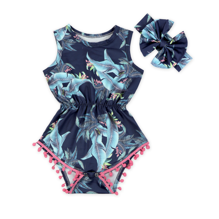 Wholesale sleeveless bodysuit soft floral baby clothes romper