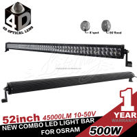 New Projector Technology 53.5inch 5w Osram dual Row 500w led light bar, 50000lumen output light distance more than 1.5km