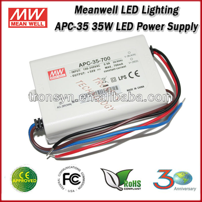 Meanwell constant current 35w 700ma led driver APC-35-700