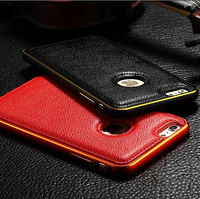 Luxury Litchi Grain Aluminium Metal Bumper Leather Back Case Cover For Apple iPhone 6/ 6 Plus
