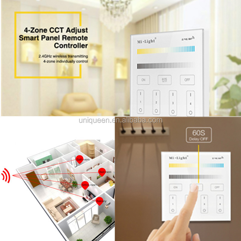 MiLight 2.4G 4 Zone Wireless RF Touch Panel LED Dimmer RGBW RGB and CCT Remote Controller for High voltage SMD LED Strip Light