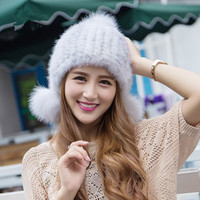 Women Winter Knitted Fur Warm Caps/Hats Lady Fashion Caps And Hats
