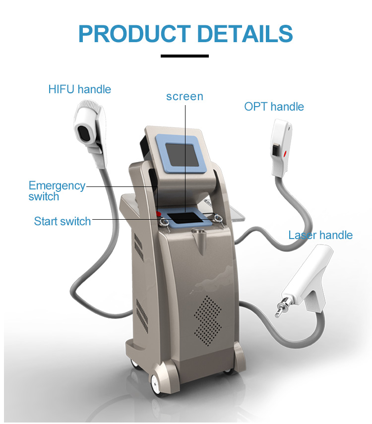 Shr ipl Multi Functional Beauty Equipment 3 in 1 Laser ND Yag SHR Hair Removal Machine