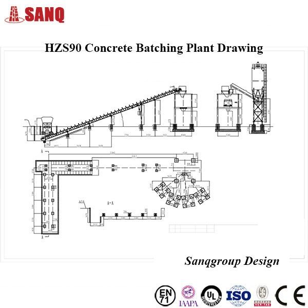 Hot Sale Ready Mixed Concrete Plant HZS90 Concrete Mixing Plant with 90m3/h Precast Concrete Plant