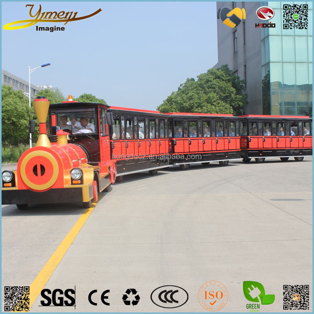 Safety vehicle 62 seats electric sightseeing train green power bus theme park car
