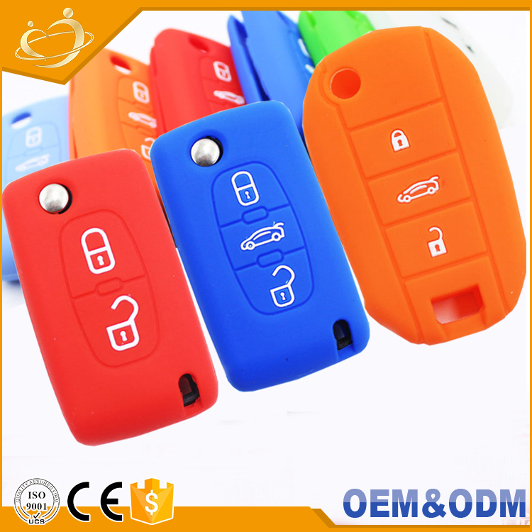 Silicone rubber car key Remote Folding 3 buttons key skin protect cover case shell for Citroen C2 C3 C4