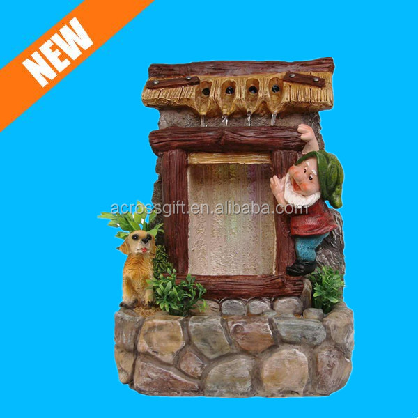 resin cute dog and gnome water fountain for sale