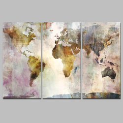 HD Print on Canvas Landscape Wall Painting Art 3 Panel Modular World Map Painting Picture