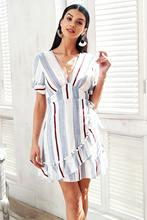 V neck stripe ruffle summer dress women Wrap style cotton short dress 2018 Streetwear casual dress female vestidos sexy