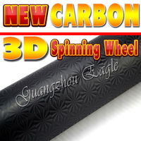 Black Spinning Wheel Fresh Carbon Design auto vinyl wrap Bubble Free Channel Size: 1.52 M Width by 30 M Length
