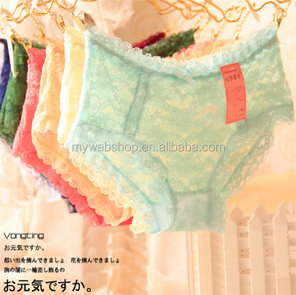 Girls sexy bowknot gauze panty,lady's small waist see all through lace strawberry underwear