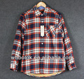 Winter fashionable mens flannel shirts check cotton with lambswool lined flannel shirt
