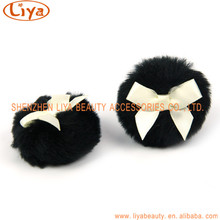 Best seller good price talc powder plush puff with bowknot cosmetic