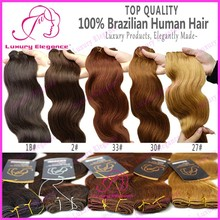 Top Quality Body Wave Black Brown Auburn Blonde Colored Brazilian Hair Weave