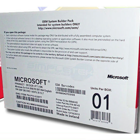 Microsoft Windows Sever 2008 R2 Enterprise 25cals <strong>X</strong> 64 bits DVD oem package windows sever 25 users <strong>software</strong>