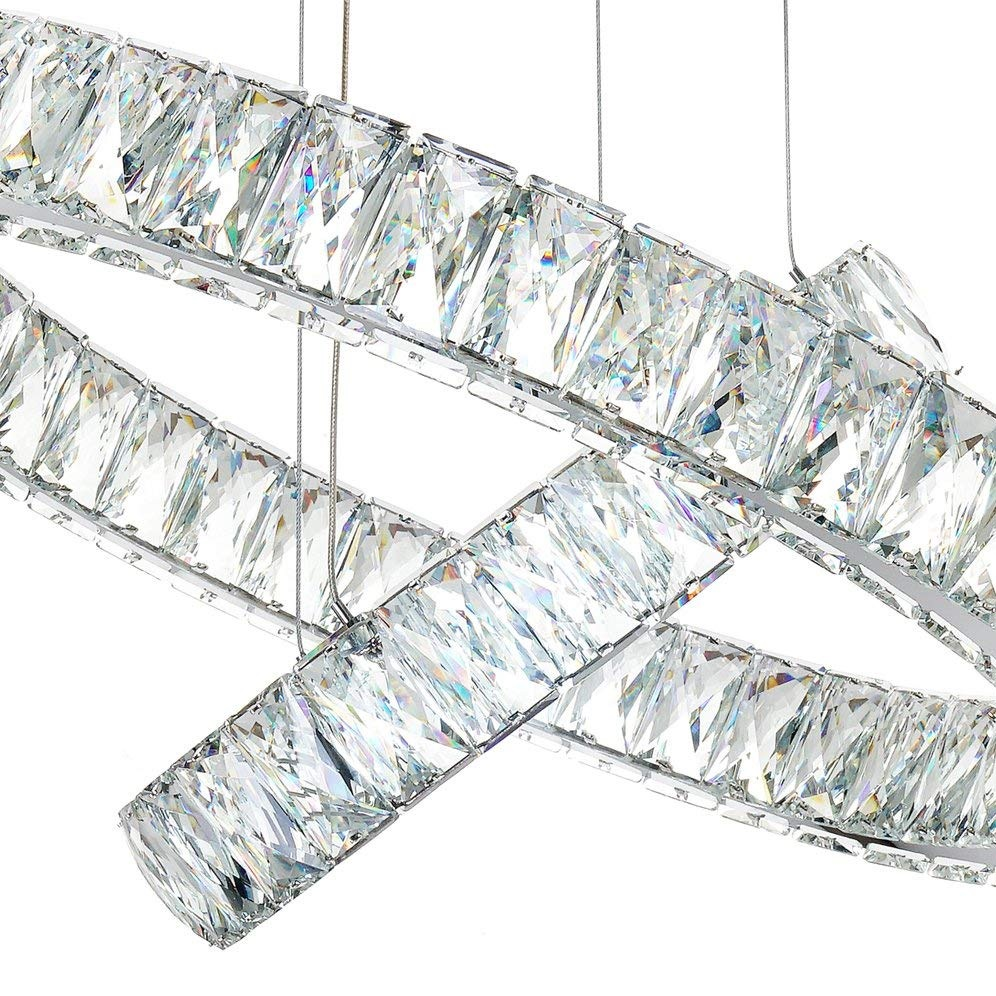 "Ceiling Light Fixture LED Contemporary Adjustable Stainless Steel 3 Rings Chandeliers Lights D27.56""+19.69""+11.81"""