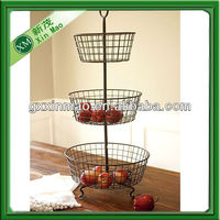 2013 new Cheap three tier Wire fruit baskets stand