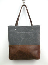 Hign Quality and Vintage Waxed Canvas Leather Tote Bag For Travel