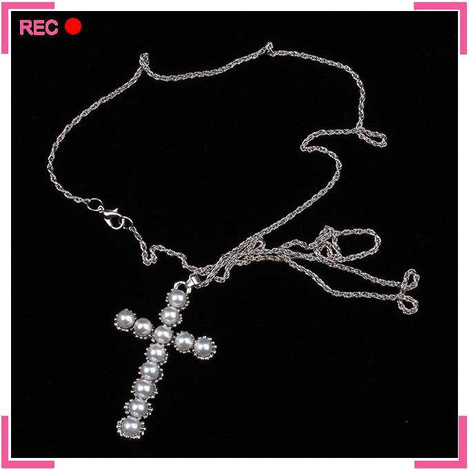 Chinese pearl necklace with cross pendant, pearl necklace designs small
