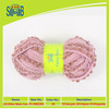 factory wholesale nets knitting yarn with lace for scarf from China fancy mesh yarn with pompom for knitting scarf