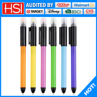 double function popular plastic ball pen and colorful highlighter pen