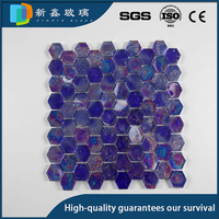 Glow Hexagon Glass Mosaic / glow in the dark blue tile