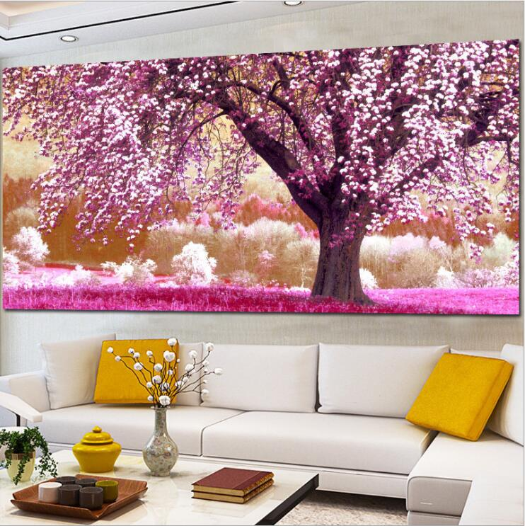 Custom Size European Style Cherry Trees Landscape Embroidered Diamond Paint Cross Stitch Kit