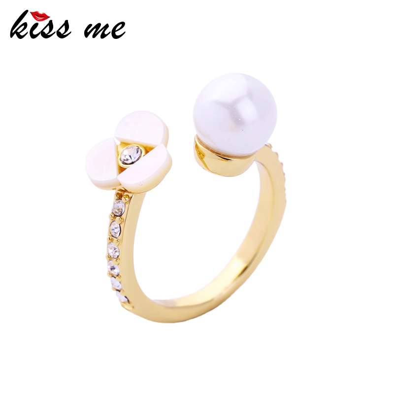 Gold Color Copper Rings Women Jewelry, Imitation Pears Shell Flower Rings