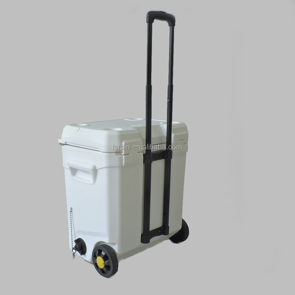 45qt Portable Food storage ice cooler box with wheels