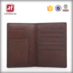 Business mens leather ID cards travel passport holder wallet case